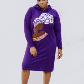 Purple hooded dress