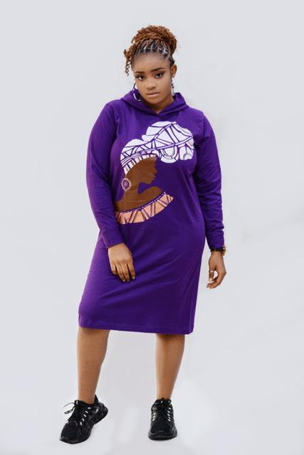 Purple hooded dress